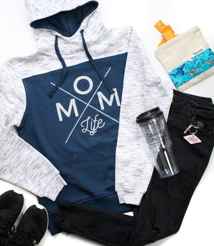 Mom Life Colorblock Hoodie - Blue + Silver [Ships in 3-5 Business Days]