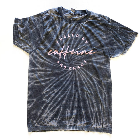 Fueled by Caffeine & Chaos Burnout Tie Dye Tee [ships in 3-5 business days]