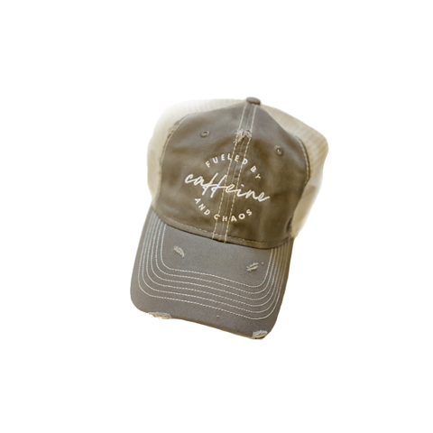 Fueled by Caffeine & Chaos Muted Olive Distressed Hat