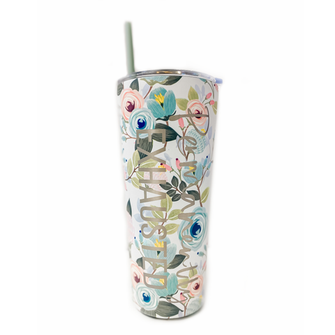 Permanently Exhausted Floral 24oz Stainless Tumbler [ships in 3-5 business days]