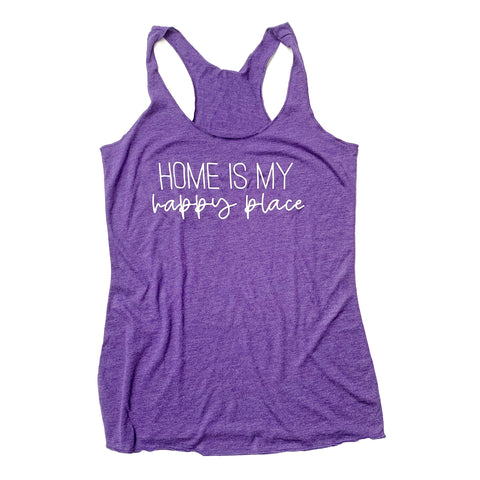 Home Is My Happy Place Purple Racerback Tank [Ships in 3-5 Business Days]