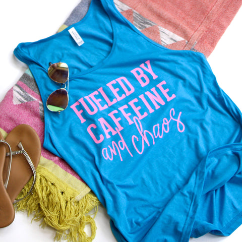 Neon Blue Fueled by Caffeine & Chaos Tank [Ships in 3-7 Business Days]