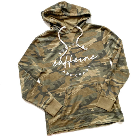 Fueled by Caffeine & Chaos Camo Hoodie  [Ships in 3-5 business days]