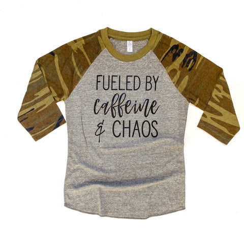 Fueled by Caffeine and Chaos Camo Raglan [ships in 3-5 business days]