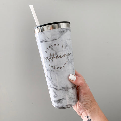Fueled by Caffeine and Chaos 22oz Marble Stainless Tumbler [ships in 1-3 business days]