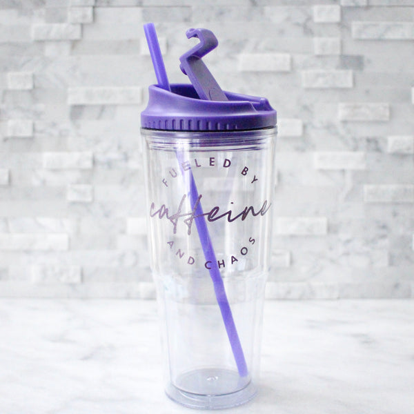 Purple Fueled by Caffeine & Chaos 24oz Tumbler [ships in 1-3 business days]