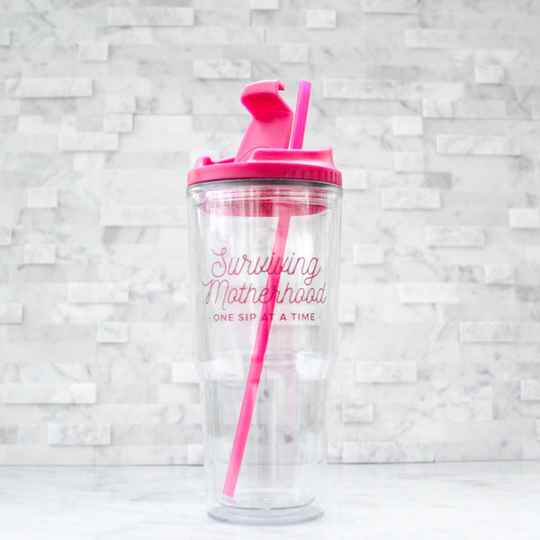 Pink Surviving Motherhood 24oz Tumbler [ships in 1-3 business days]
