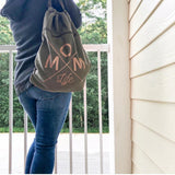 Mom Life Cinch Backpack - Olive + Rose Gold  [Ships in 3-5 business days]