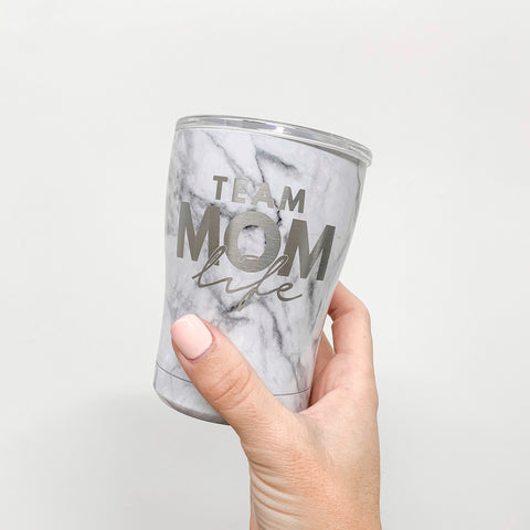 Team Mom Life 12oz Marble Stainless Tumbler [ships in 1-3 business days]