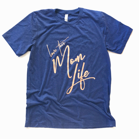 Love This Mom Life Tee Navy/Coral
