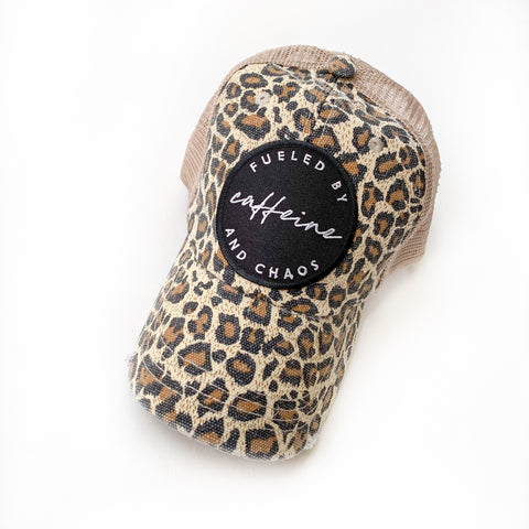 Fueled by Caffeine & Chaos Distressed Hat - Leopard Pattern