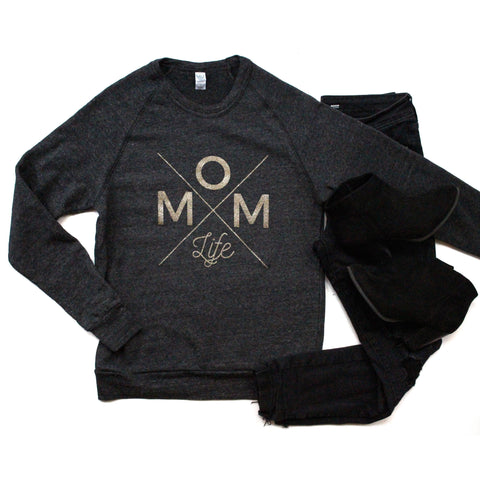 Mom Life Galaxy Gold/Eco Black Fleece Pullover [ships in 1-2 business days]