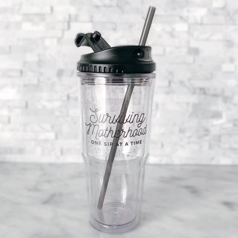 FINAL SALE FLAWED: Surviving Motherhood 24oz Tumbler [ships in 1-3 business days]