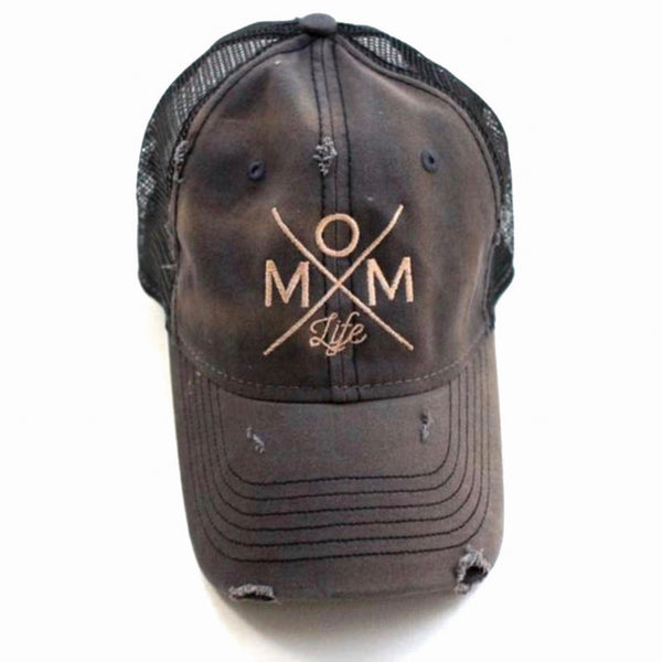 Mom Life Distressed Hat - Solid Colors