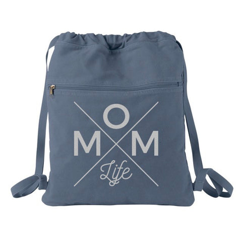 Mom Life Cinch Backpack - Denim + Silver Shimmer  [Ships in 3-5 business days]