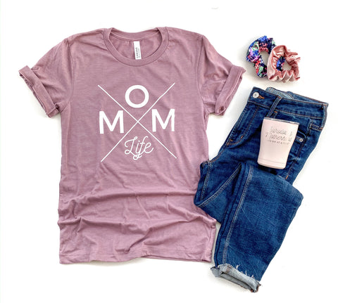 Mom Life Tee - Heather Orchid [ships in 3-5 business days]