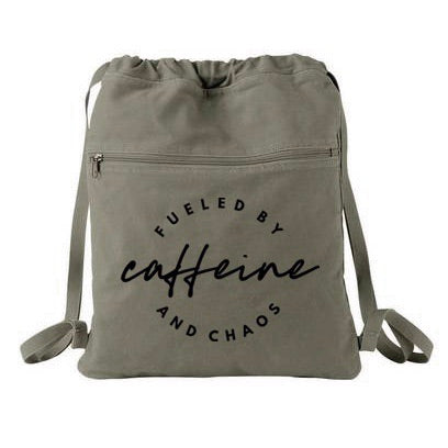 Fueled by Caffeine and Chaos Cinch Backpack - Olive + Black  [Ships in 3-5 business days]
