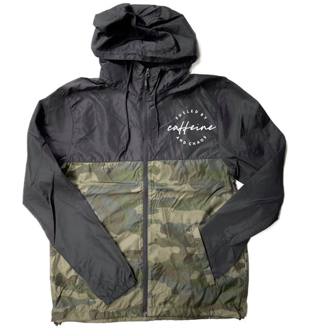 Fueled by Caffeine and Chaos Light Weight Camo Windbreaker Zip Jacket [Ships in 3-5 business days]
