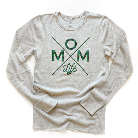 Green Plaid Mom Life Long Sleeve Thermal [ships in 3-5 business days]