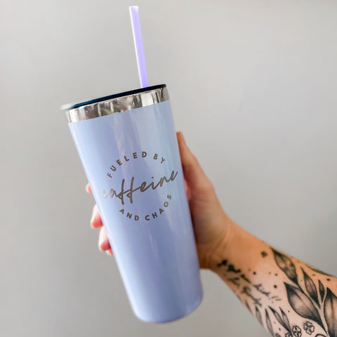 Lilac Fueled by Caffeine and Chaos 22oz Stainless Tumbler [ships in 1-3 business days]