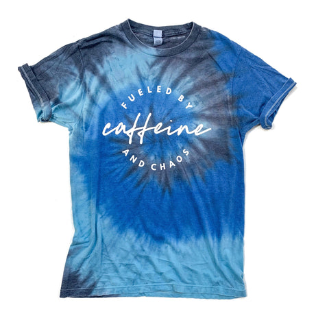 Fueled by Caffeine and Chaos Burnout Tie Dye Tee [ships in 3-5 business days]