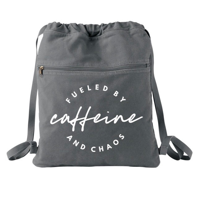 Fueled by Caffeine and Chaos Cinch Backpack - Smoke + White  [Ships in 3-5 business days]