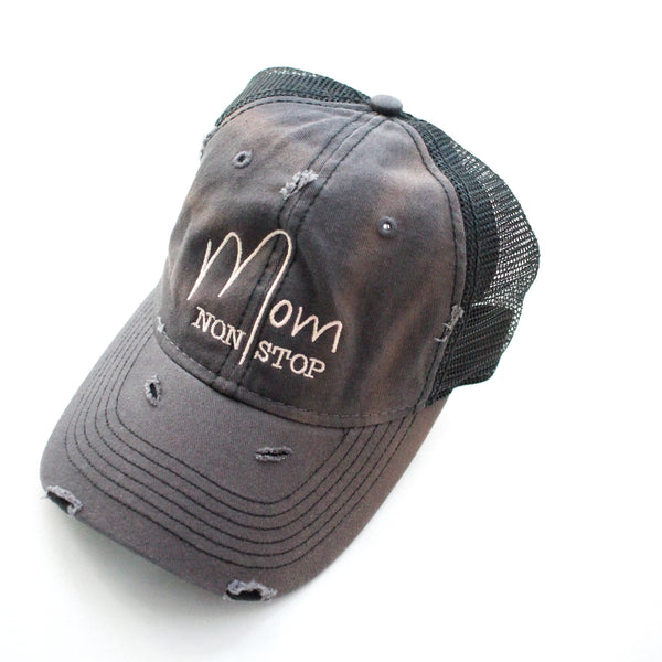 Mom Non Stop Distressed Hat - Charcoal/Black + Soft Pink [Ships in 1-2 business days]