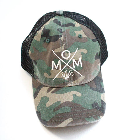 Mom Life Distressed Hat - Camo Pattern
