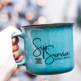 Sip. Survive. Reheat. Repeat. 15oz Campfire Ceramic Mug - Teal