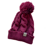 Signature Cable Knit Pom Beanie -Burgundy [ships in 3-5 business days]