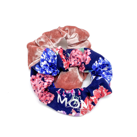 Midnight Navy Floral + Crushed Velvet Handmade Scrunchie Set [ships in 3-5 business days]