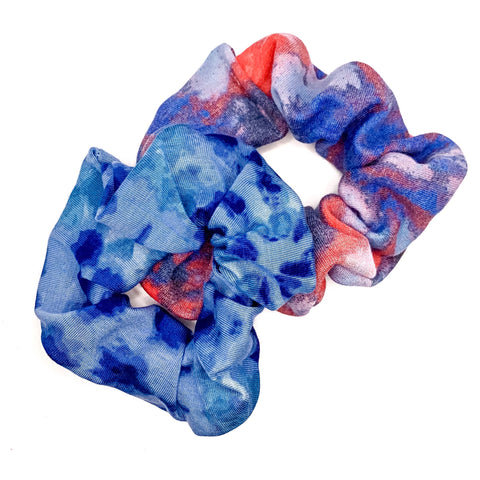 Red + Blue Tie Dye Handmade Scrunchie Set [ships in 3-5 business days]
