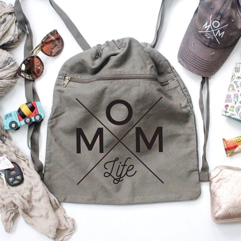 Mom Life Black + Olive Cinch Backpack [Ships in 3-5 business days]