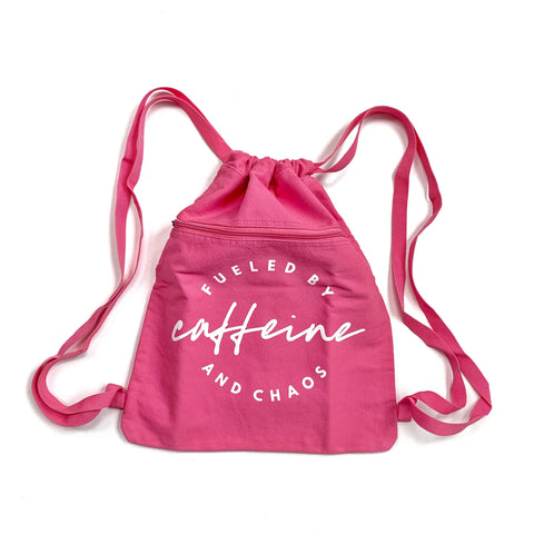 Fueled by Caffeine and Chaos Cinch Backpack - Flamingo Pink  [Ships in 3-5 business days]