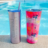 Permanently Exhausted Watercolor 24oz Stainless Tumbler [ships in 3-5 business days]