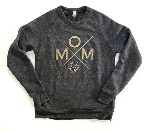 Mom Life Galaxy Gold/Eco Black Fleece Pullover [ships in 3-5 business days]