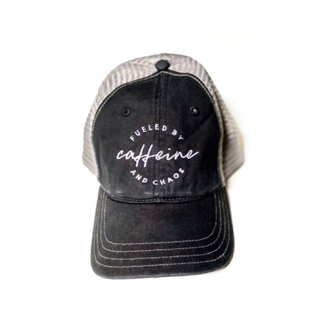 Fueled by Caffeine & Chaos Black Distressed Hat