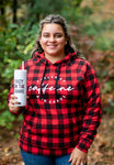 Fueled by Caffeine & Chaos Buffalo Plaid Hoodie [Ships in 3-5 business days]