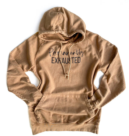 Permanently Exhausted Mineral Wash Hoodie [Ships in 3-5 Business Days]