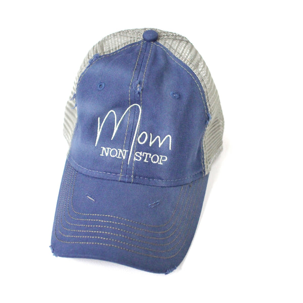 Mom Non Stop Distressed Hat