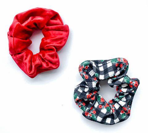 Plaid + Red Velour Handmade Scrunchie Set [ships in 3-5 business days]