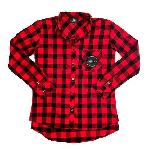 Fueled by Caffeine and Chaos Buffalo Plaid Flannel [ships in 3-5 business days]