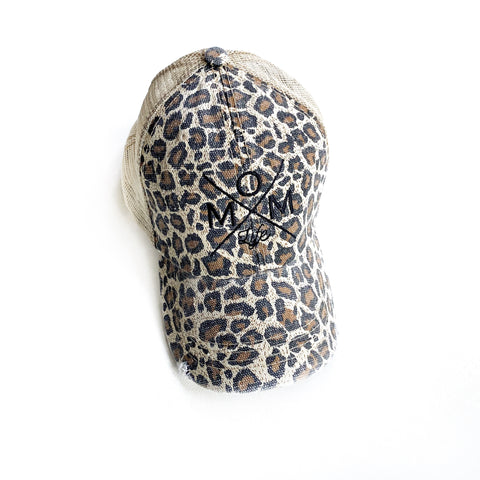 Mom Life Distressed Hat - Leopard Pattern [ships in 3-5 business days]