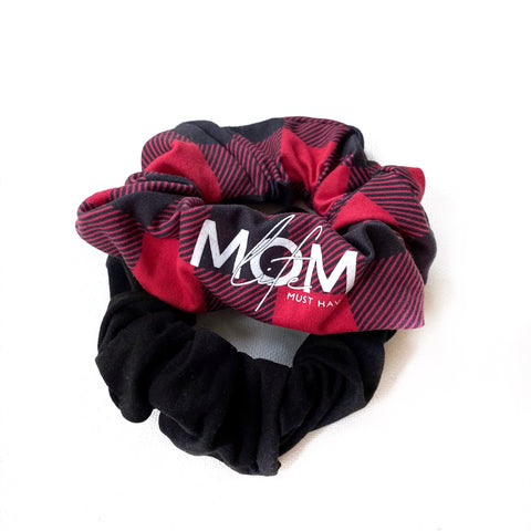 Buffalo Plaid + Black Handmade Scrunchie Set [ships in 3-5 business days]