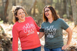 Jolly as a Mother Forest Green Vneck Tee [ships in 5-7 business days]