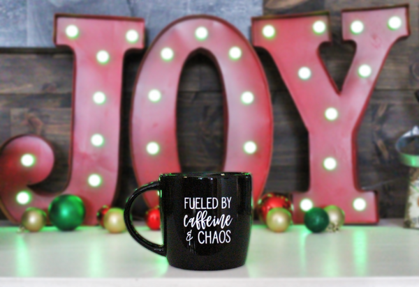 Fueled By Caffeine and Chaos Oversized Mug