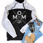 Mom Life Colorblock Hoodie - White [Ships in 3-5 Business Days]