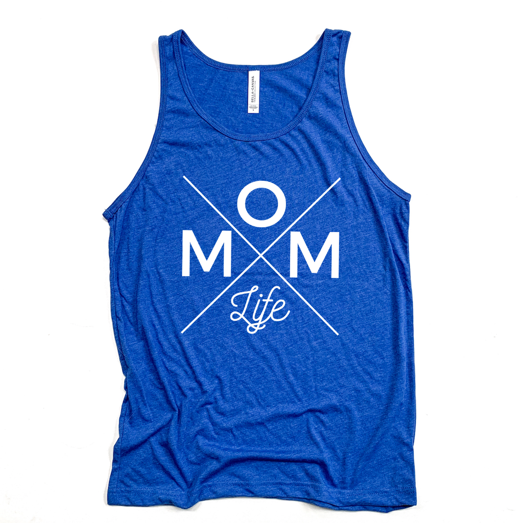 Mom Life Unisex Royal Blue Triblend Tank [ships in 3-5 business days]