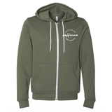 Fueled by Caffeine and Chaos Olive Fleece Zip Up [Ships in 3-5 Business Days]