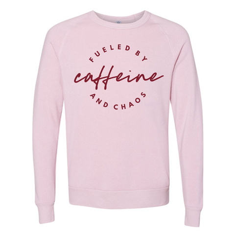 Fueled by Caffeine and Chaos Rose Quartz Pullover [ships in 3-5 business days]